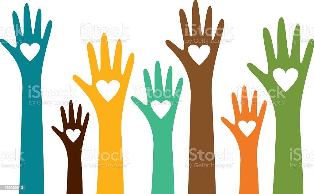 Hands voting for love vector art illustration