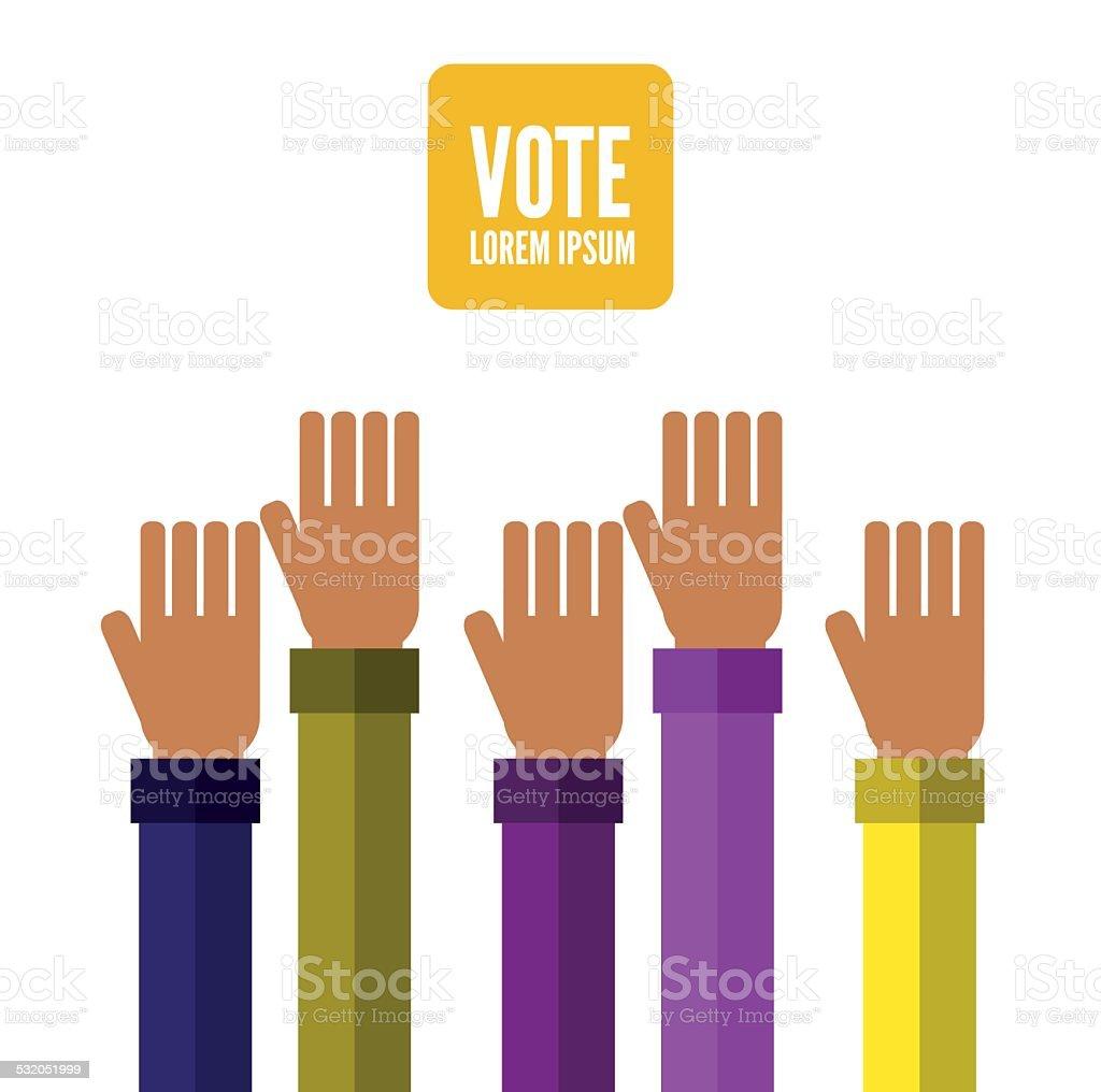 Hands voting. vector art illustration