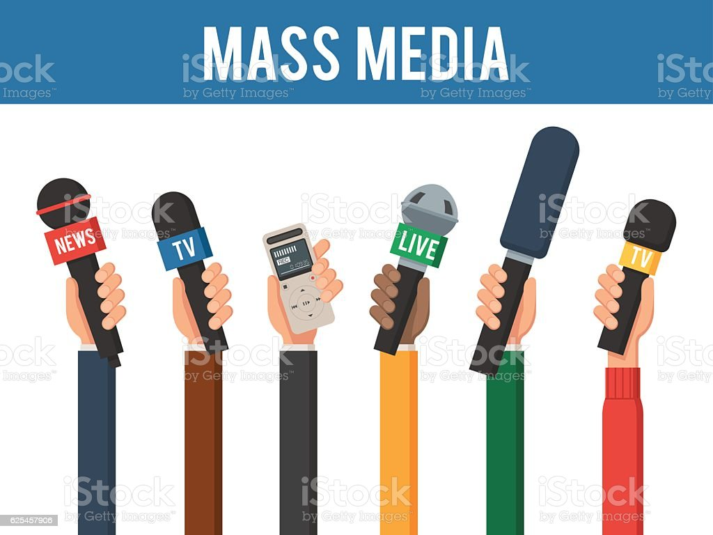 Hands with a MIC and recorder vector art illustration