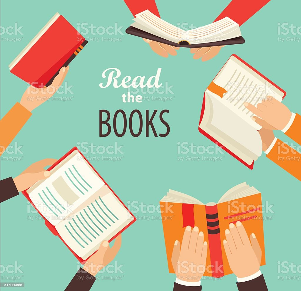 Hands with books. vector art illustration