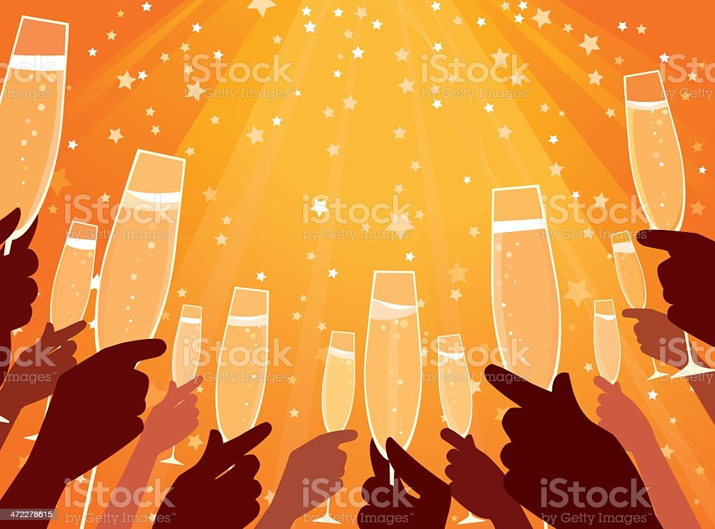 Hands with champagne royalty-free stock vector art