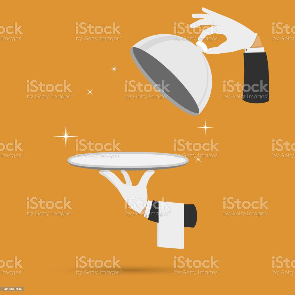 Hands with cloche lid cover and towel vector. vector art illustration