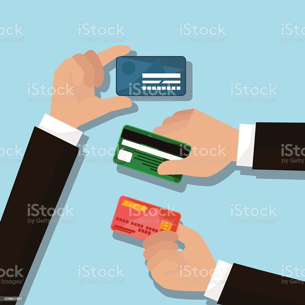 hands with credit cards vector art illustration