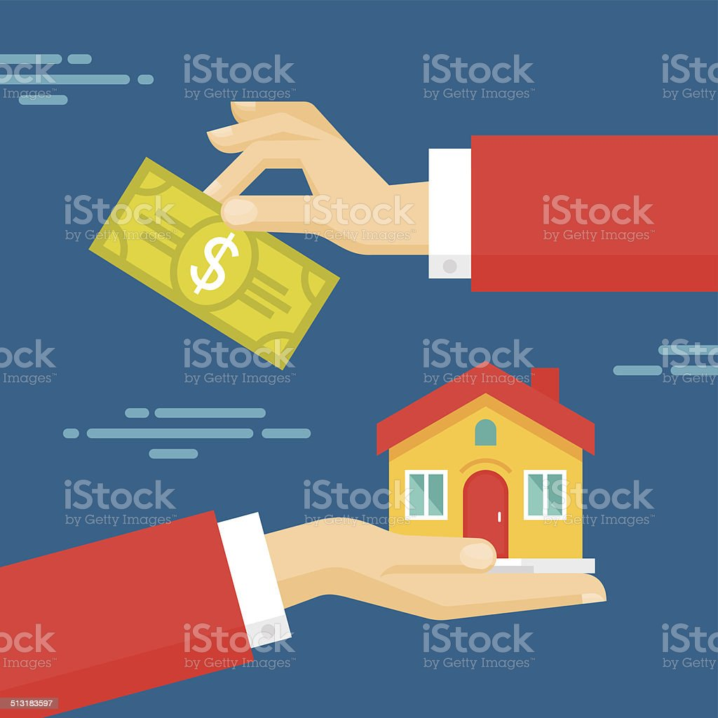 Hands with Dollar and House. Flat style concept design illustration vector art illustration