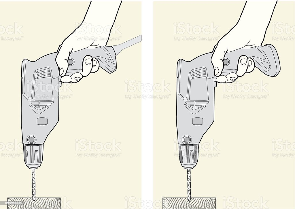 Hands With Electric Drills royalty-free stock vector art