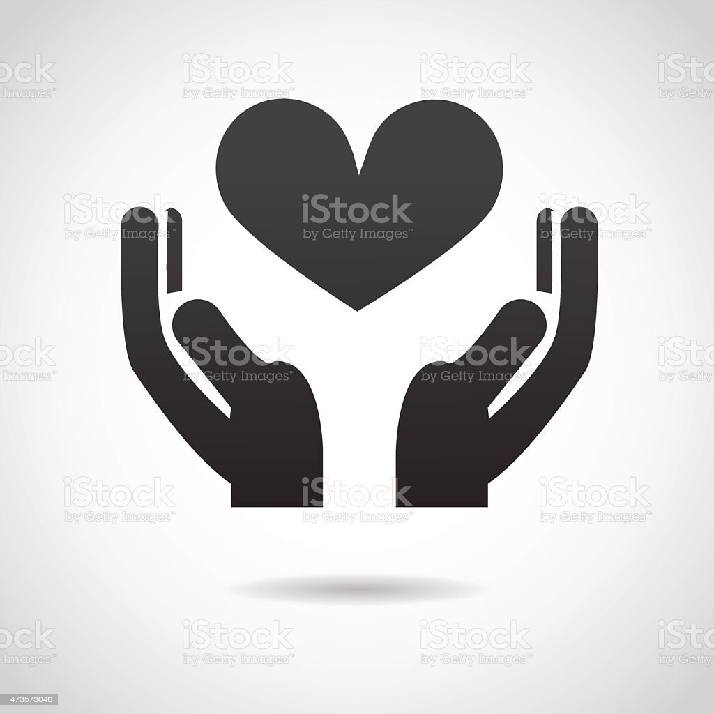 Hands with heart icon. vector art illustration