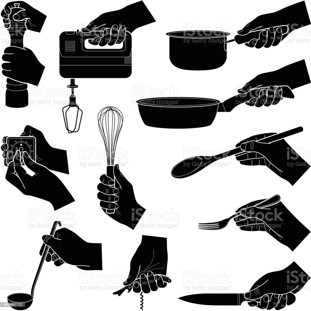 Restaurant Kitchen Toolste hands with kitchen tools collection vector silhouette illustration