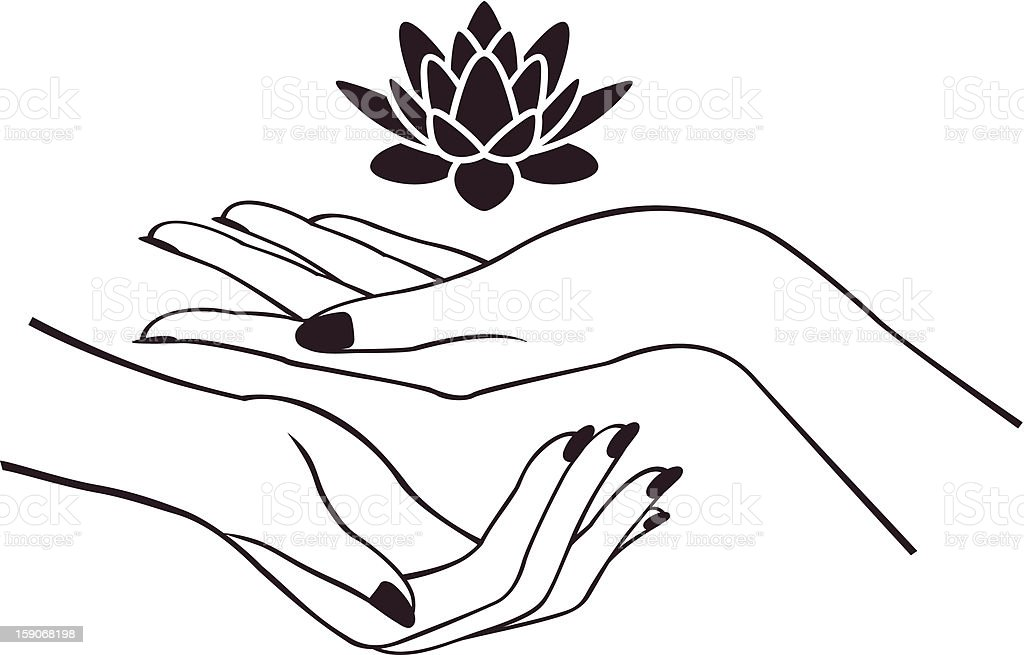 Hands with lotus vector art illustration