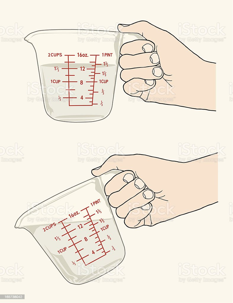Hands With Measuring Cups royalty-free stock vector art