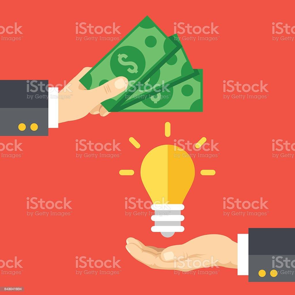 Hand holds money, hand holds lightbulb. Buy idea, investing in...