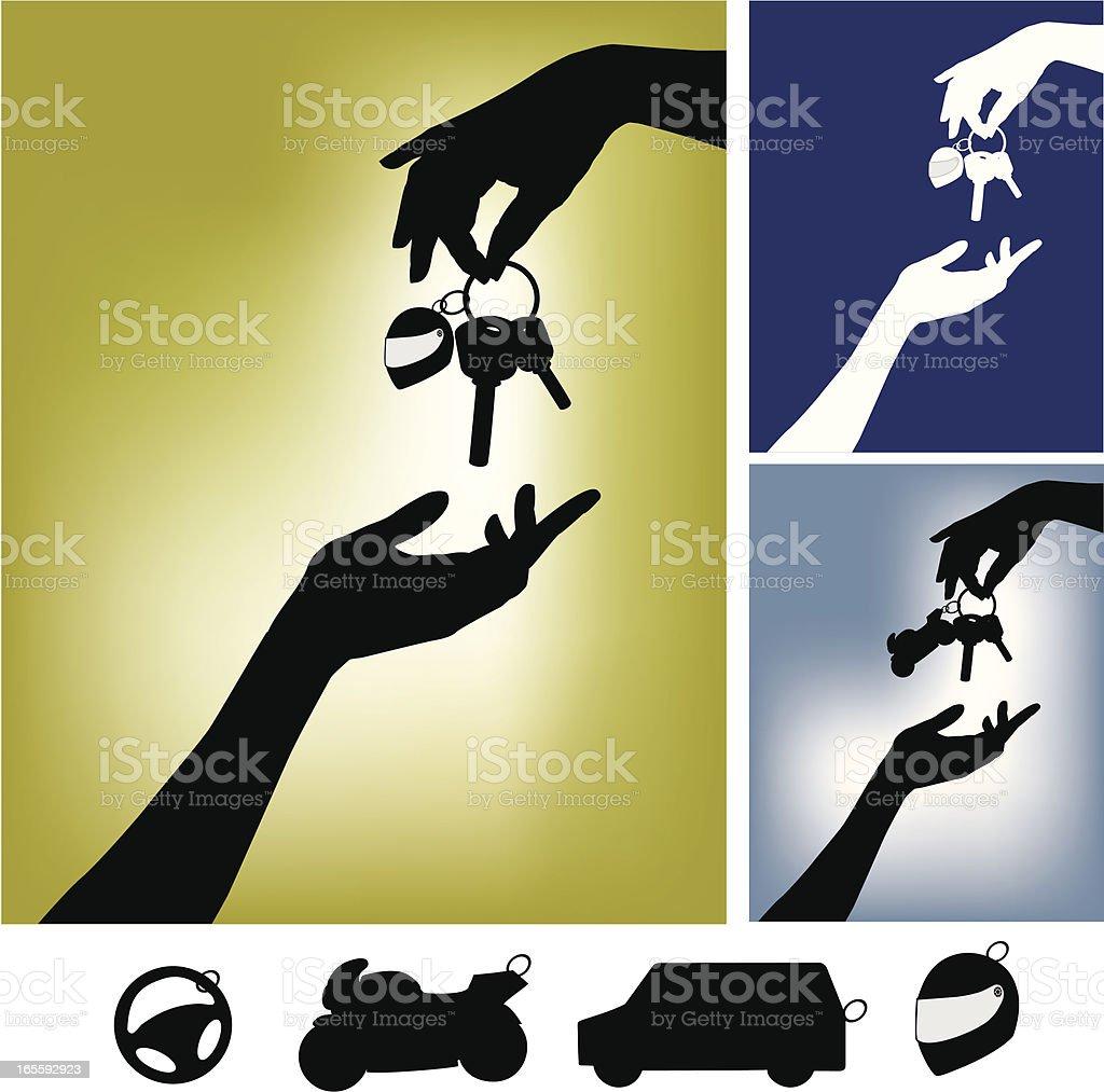Hands with Motorbike Keys vector art illustration