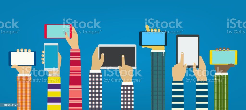 Hands with phones. Interaction hands using mobile apps. Concept vector art illustration