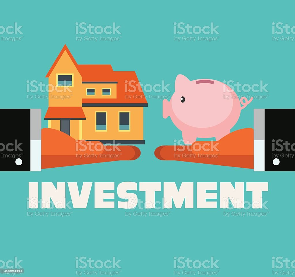 Hands with piggy bank and house. Saving and investing concept vector art illustration