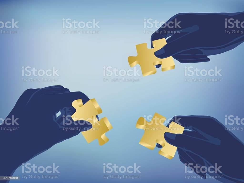hands with puzzle vector art illustration