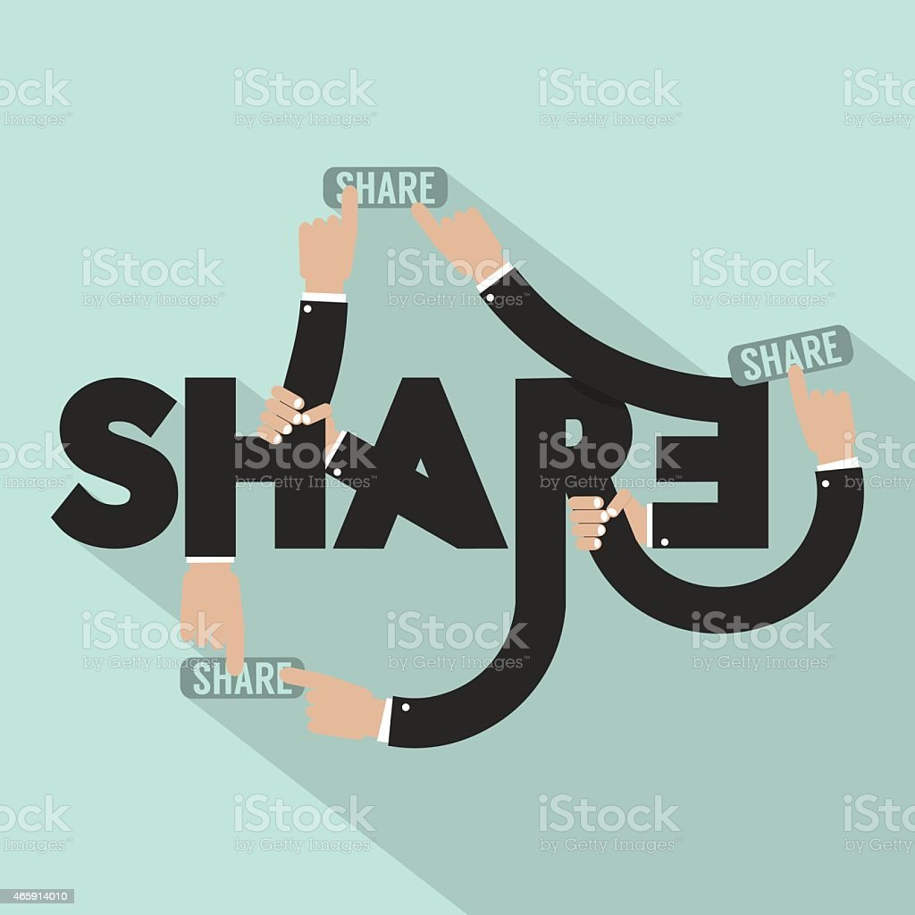 Hands With Share Typography Design vector art illustration