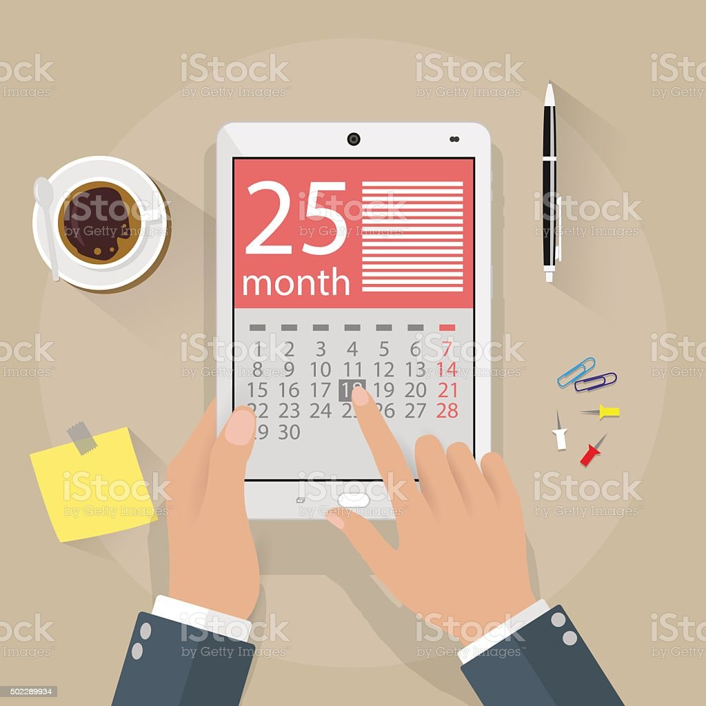 Hands with tablet pc calendar application vector art illustration