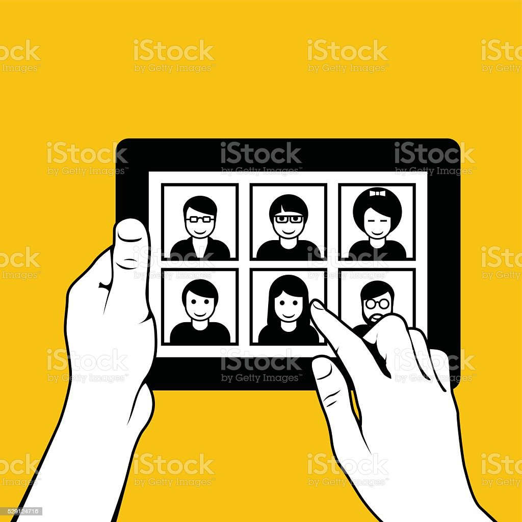 Hands with tablet pc - looking through photos vector art illustration