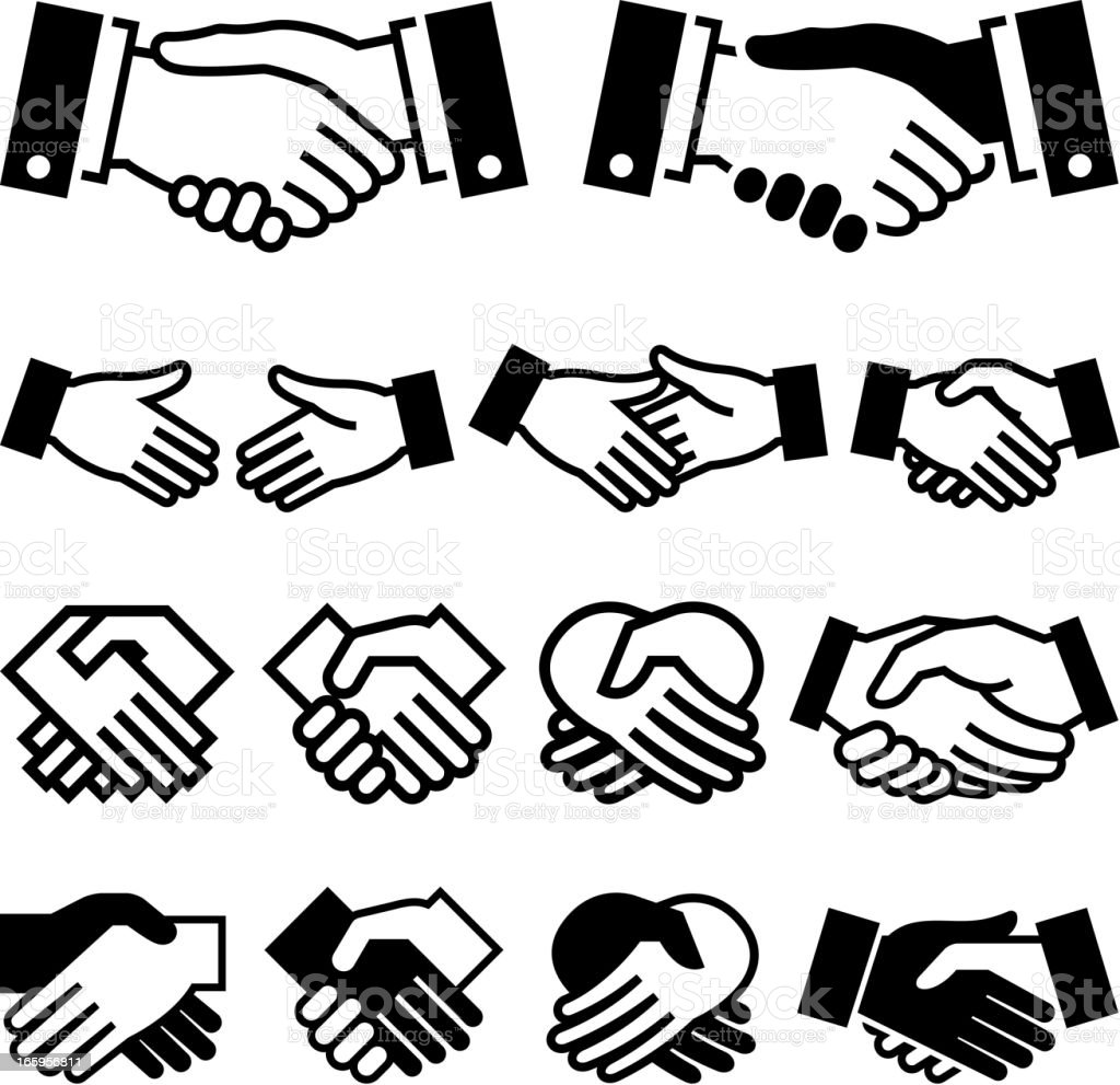 Handshake Agreement business meeting royalty free vector icon set royalty-free stock vector art