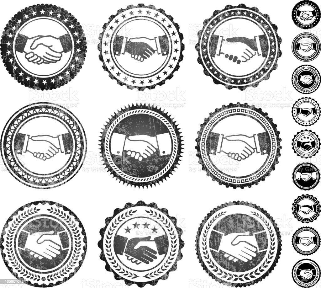 Handshake Badges Black and White Grunge Texture royalty-free stock vector art