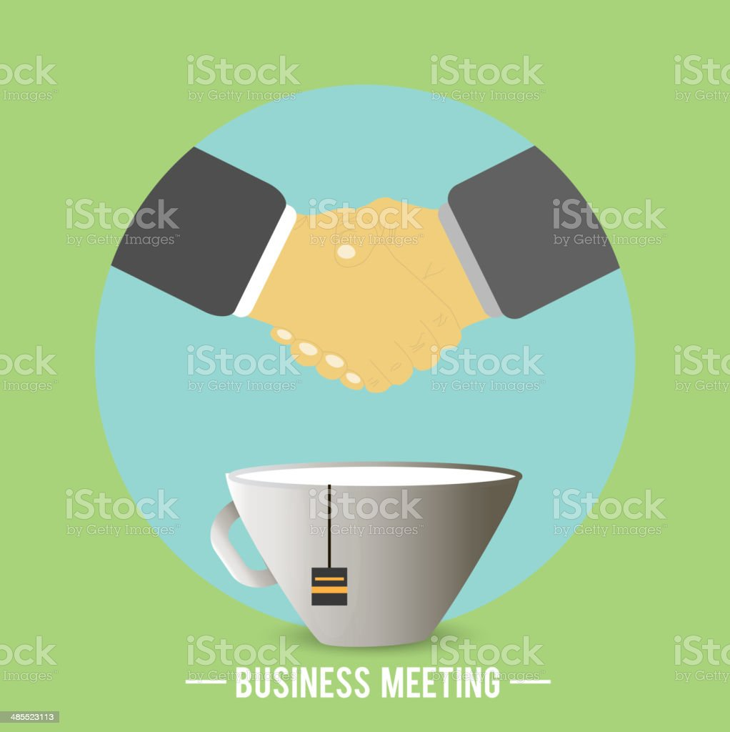 Handshake behind a cup of tea, coffee vector art illustration