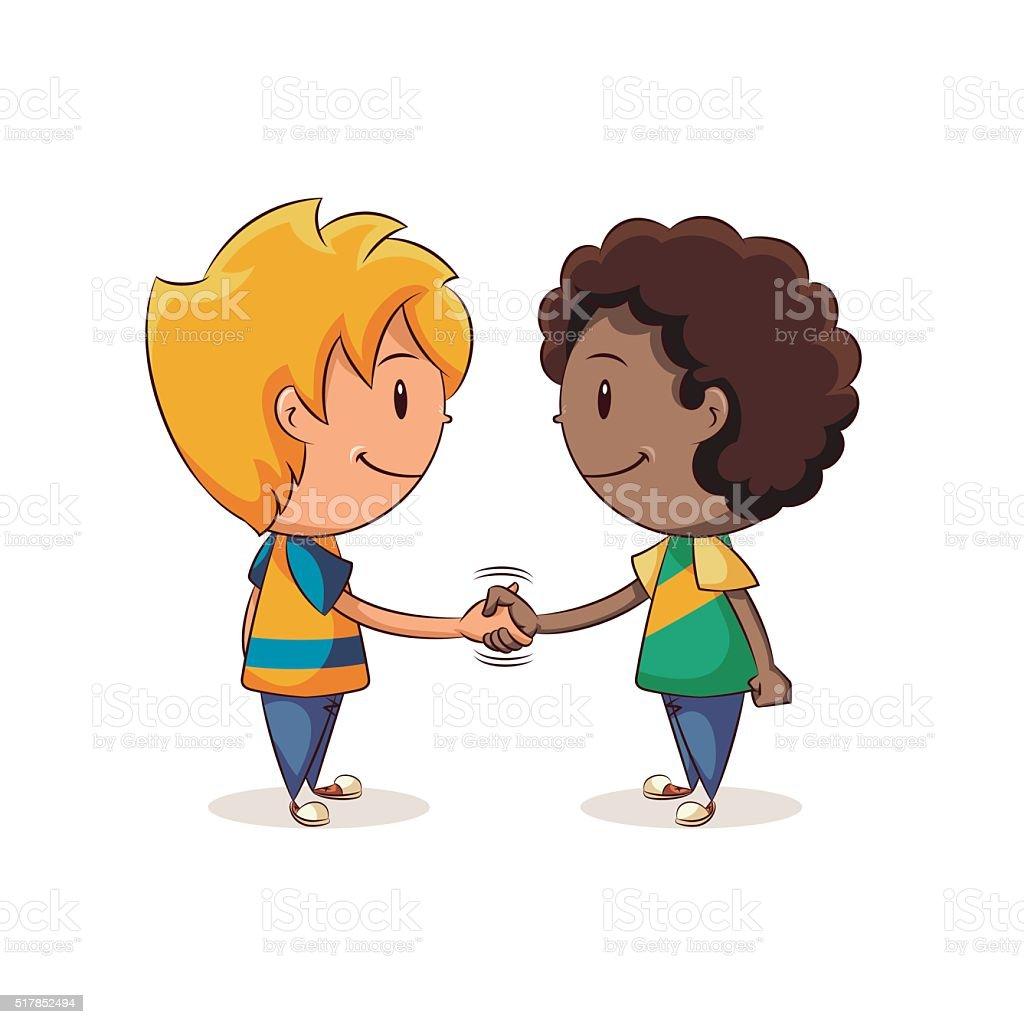 Handshake boys vector art illustration