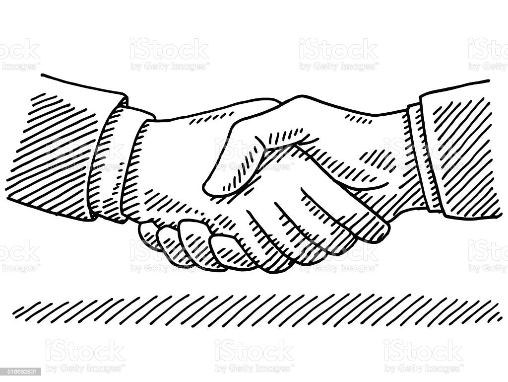 Handshake Business Agreement Drawing vector art illustration