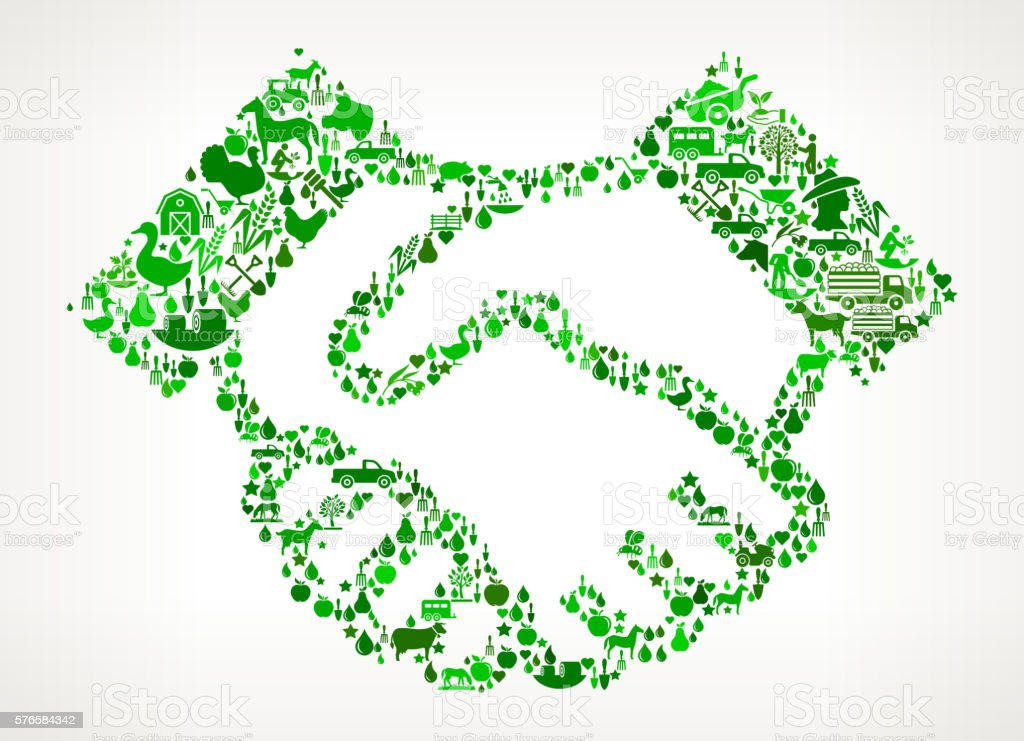 Handshake Farming and Agriculture Green Icon Pattern vector art illustration
