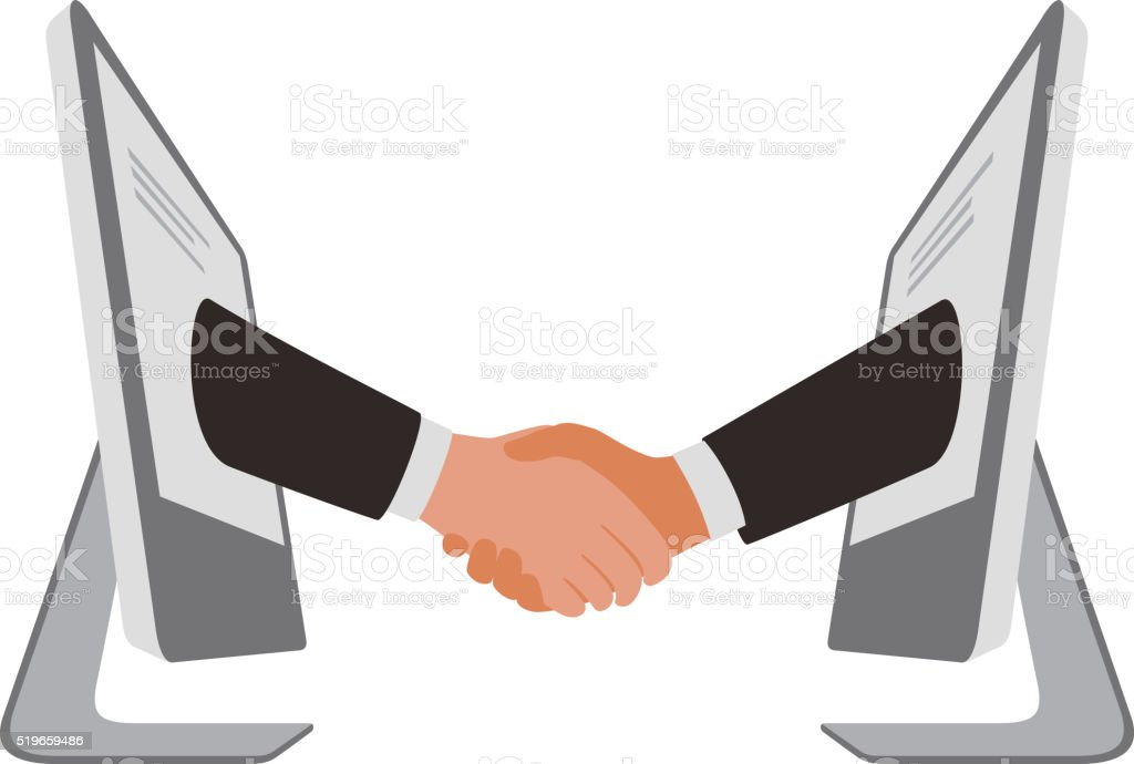 handshake from computer, business partnership vector art illustration