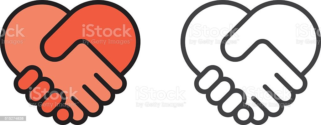 Handshake heart icon vector art illustration