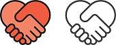 Handshake heart icon