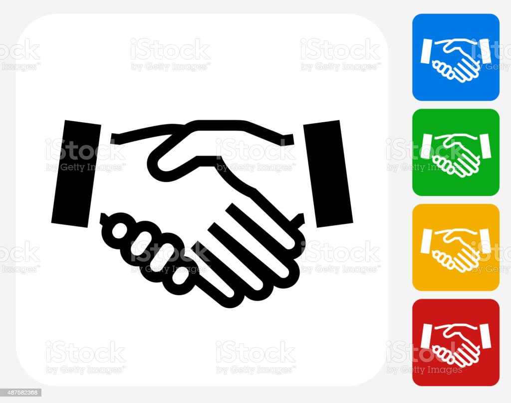 Handshake Icon Flat Graphic Design vector art illustration