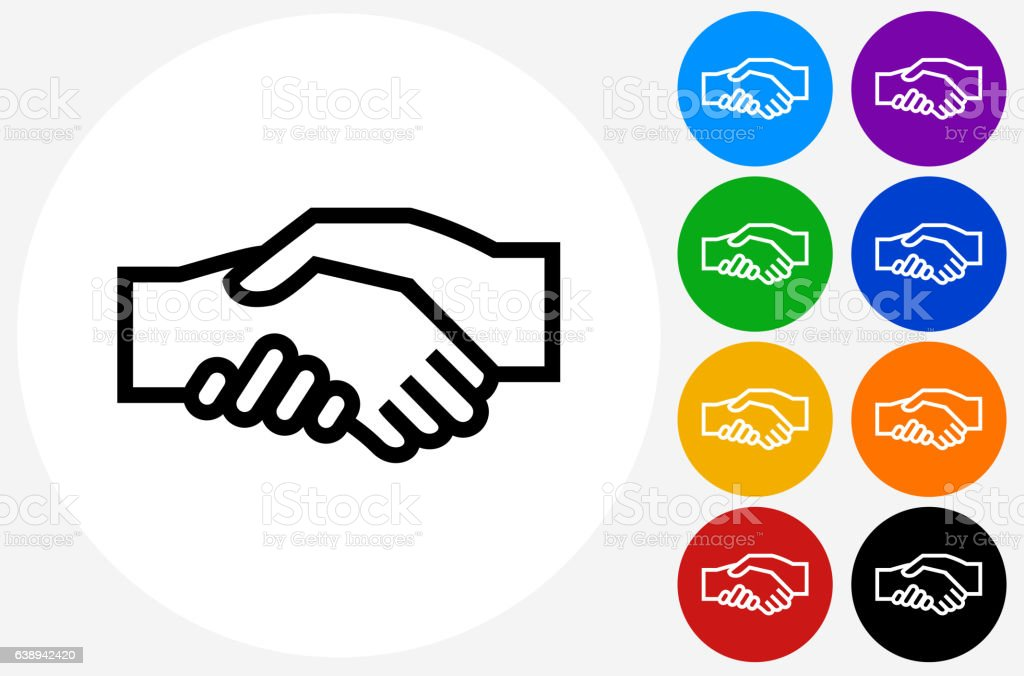 Handshake Icon on Flat Color Circle Buttons vector art illustration