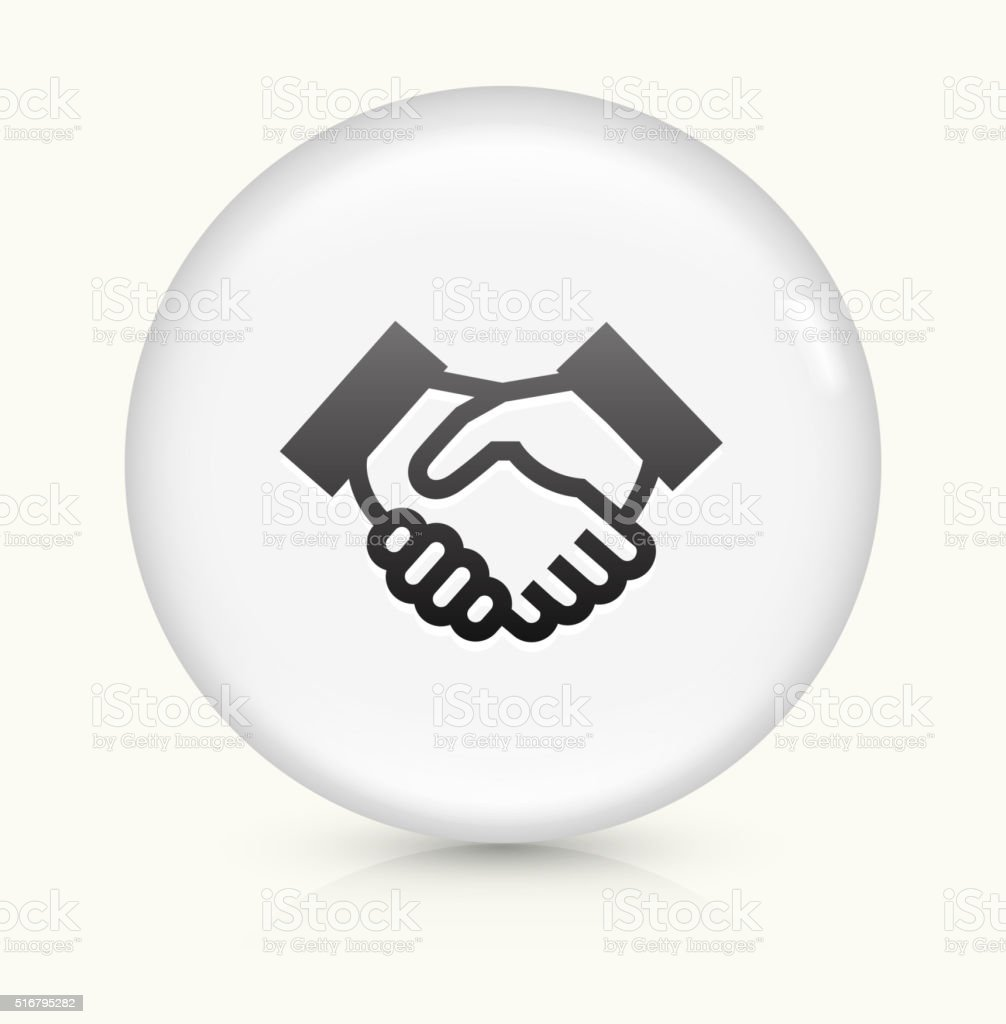 Handshake icon on white round vector button vector art illustration