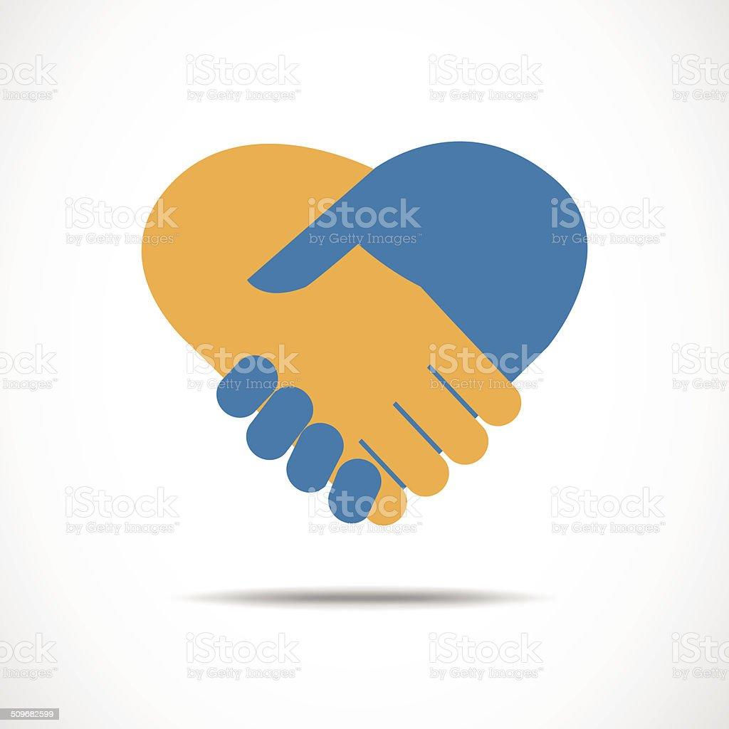 Handshake in the form of heart vector art illustration