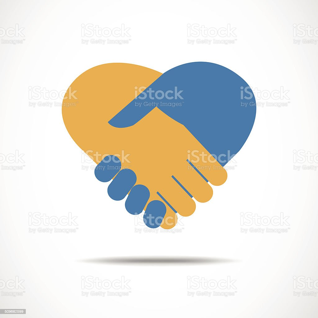 Handshake in the form of heart vector art illustration