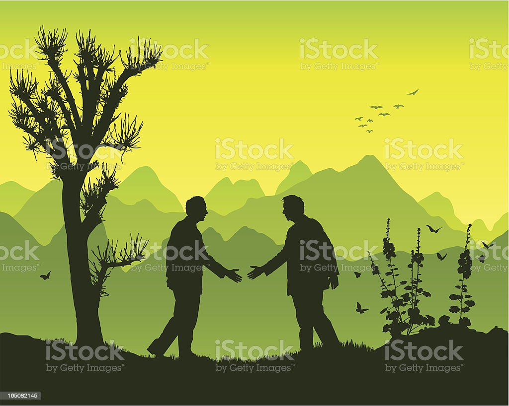 Handshake in the mountains royalty-free stock vector art