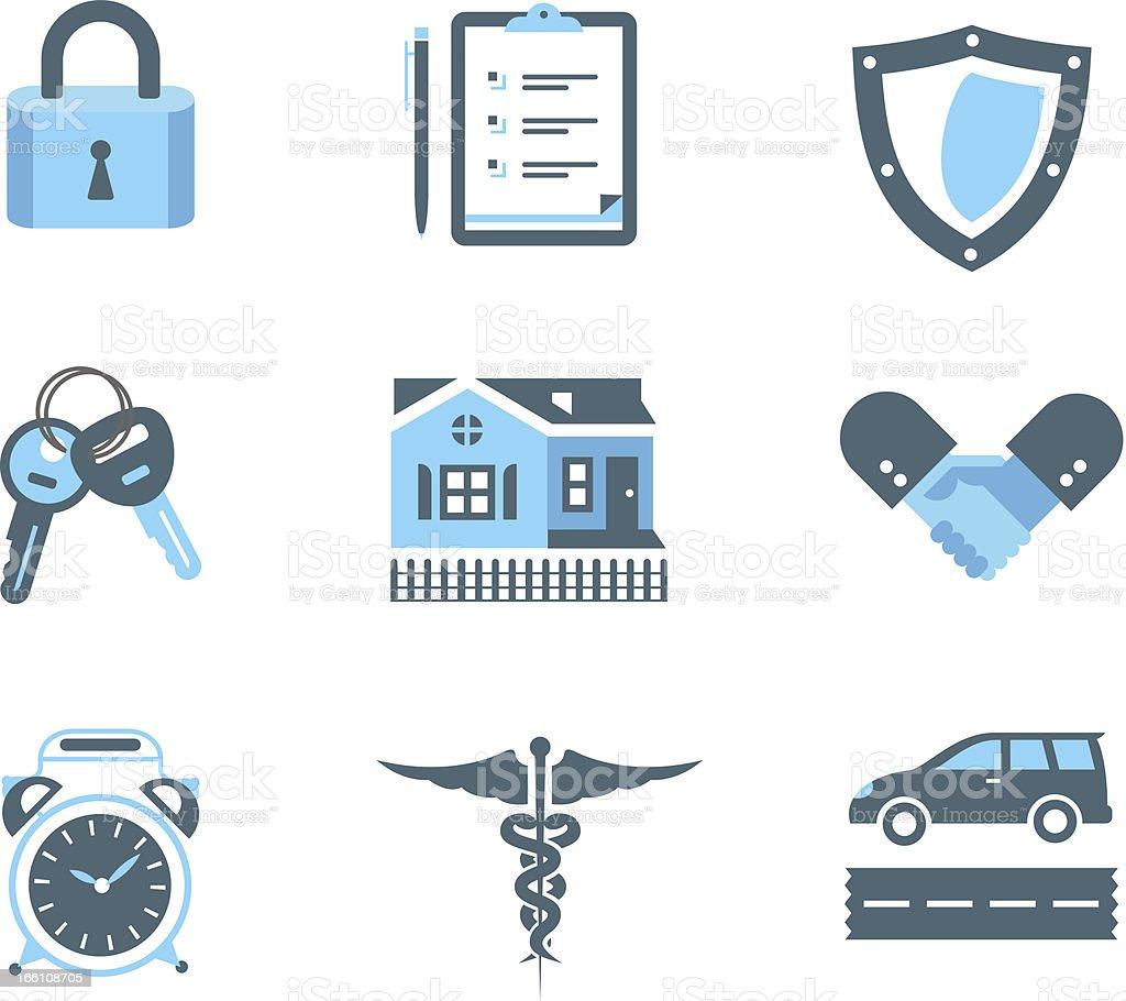 Handshake insurance icons royalty-free stock vector art