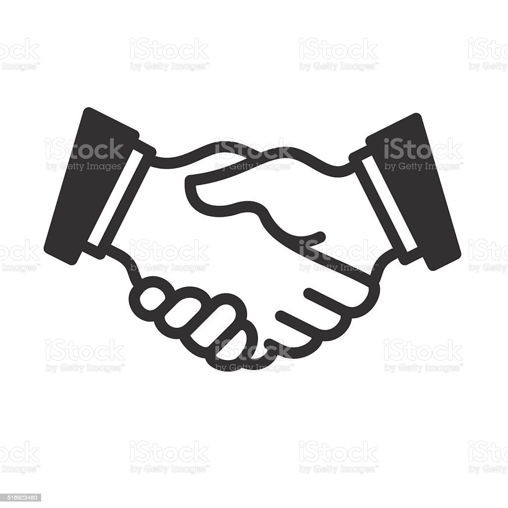 Handshake linear icon. Vector vector art illustration