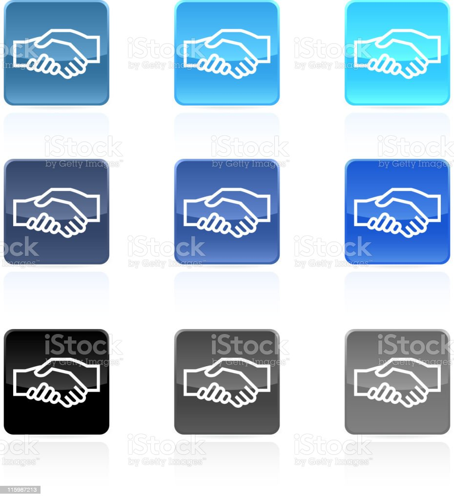 handshake meeting royalty free vector Icon button  9 colors royalty-free stock vector art