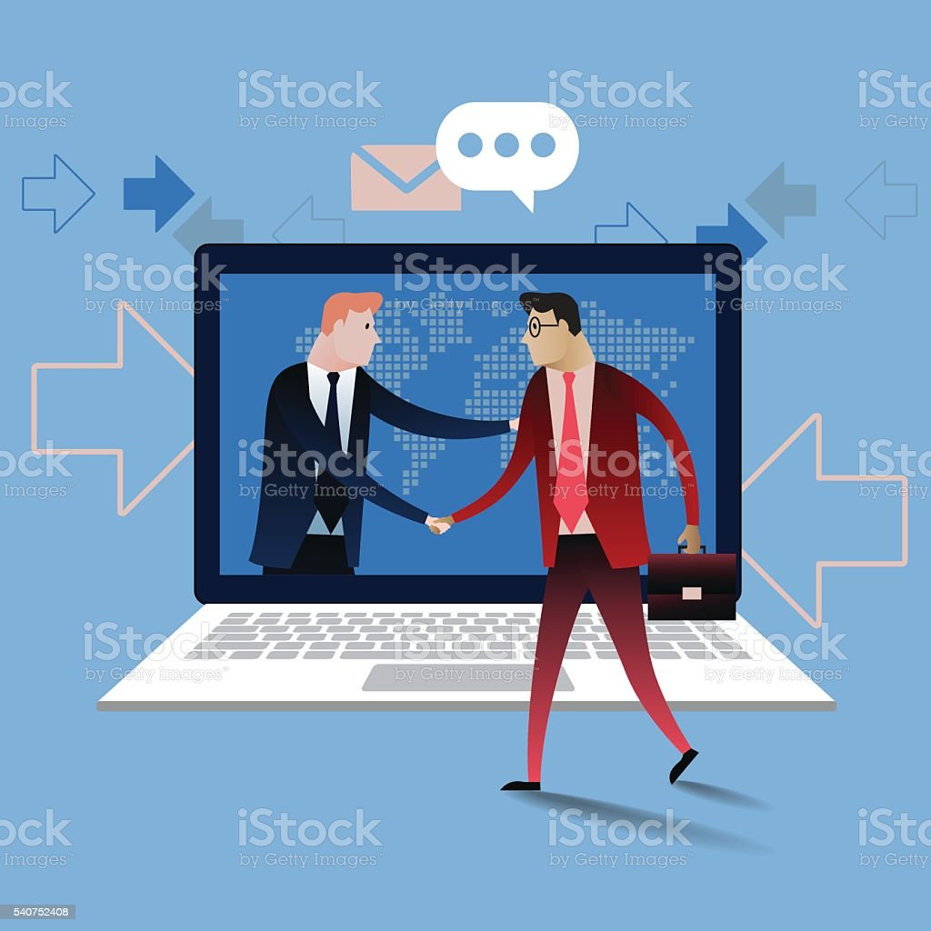 Handshake of business people with laptop. Business concept illustration vector vector art illustration