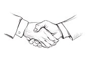 Handshake of businessman. Vector black and white drawing.