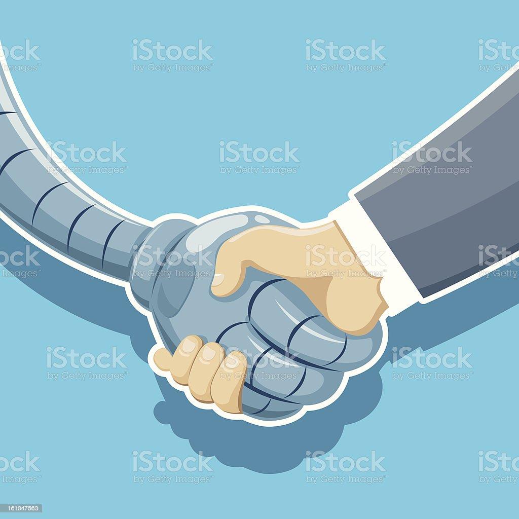Handshake of robot and man royalty-free stock vector art