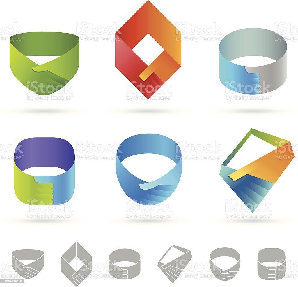 Handshake | Ribbon design element vector art illustration