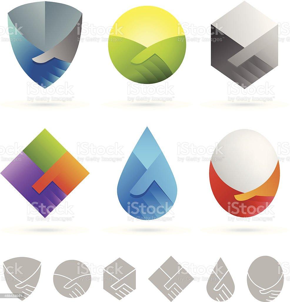 Handshake shields vector art illustration