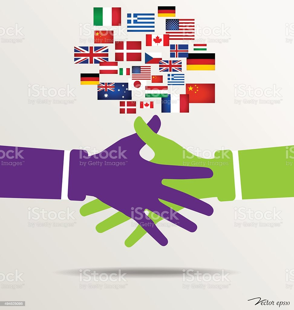Handshake, Teamwork Hands Logo with flags background. vector art illustration