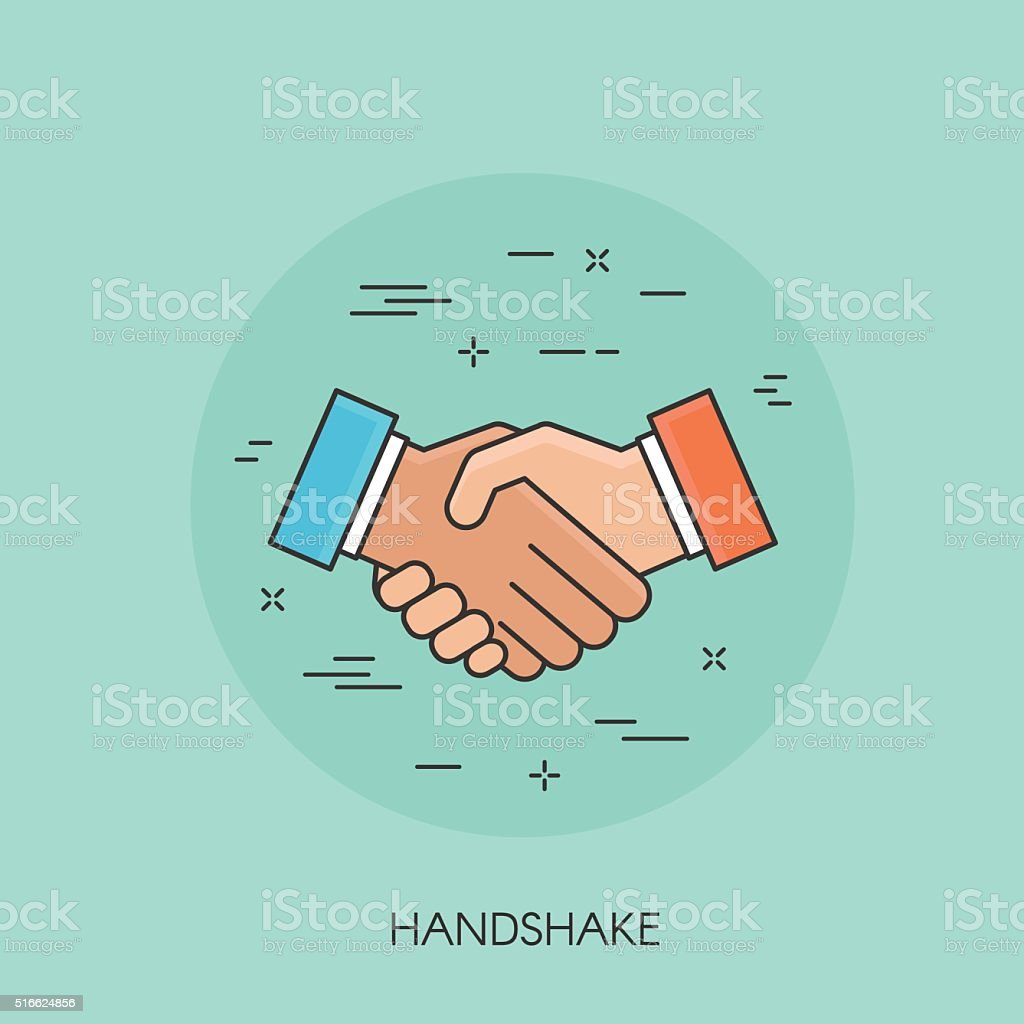 Handshake thin line colorful icon vector art illustration