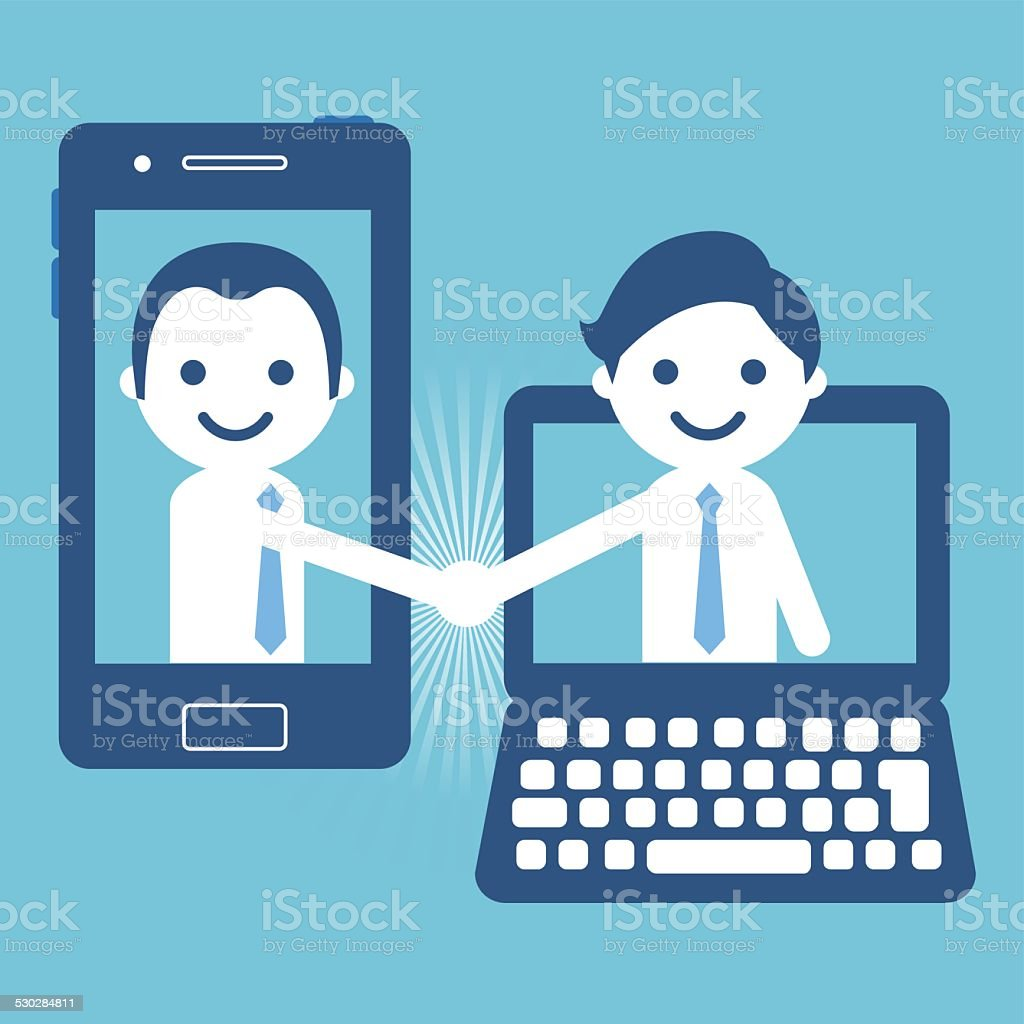 Handshake with smartphone and computer vector art illustration