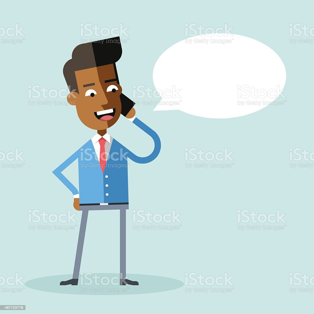 Handsome african american businessman suit talking on the phone vector art illustration