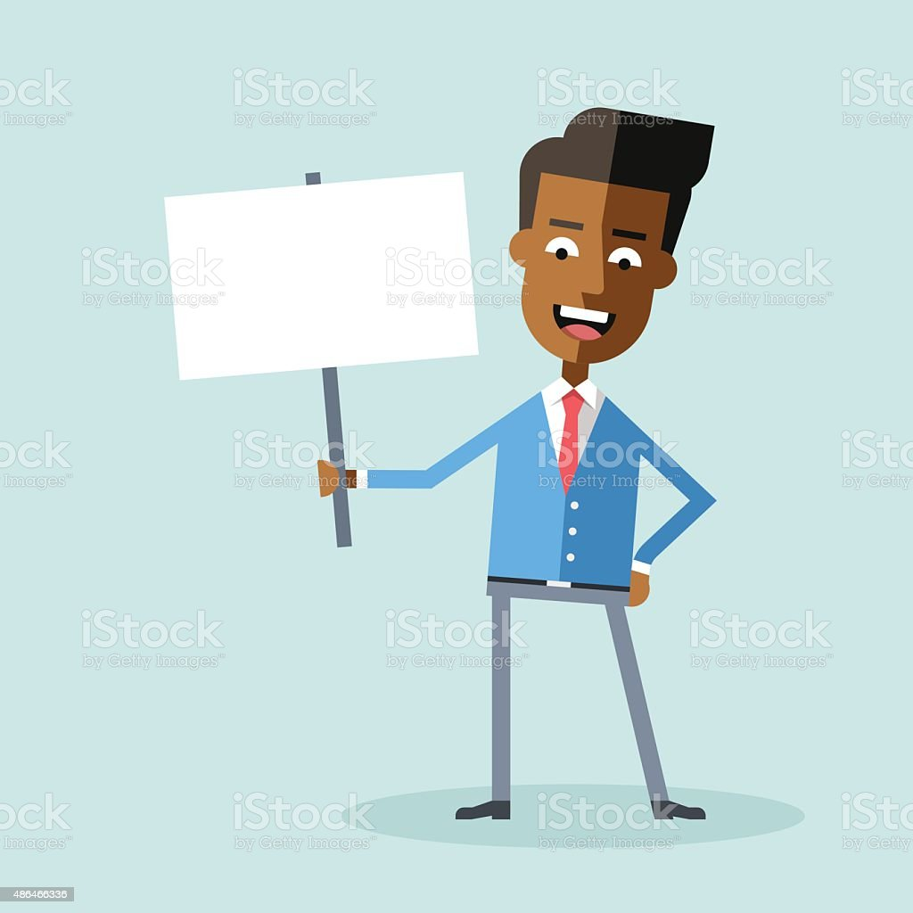 Handsome african american manager holding poster. vector art illustration