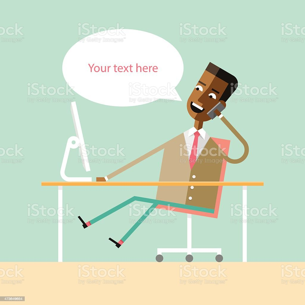 Handsome african american manager talking on phone vector art illustration